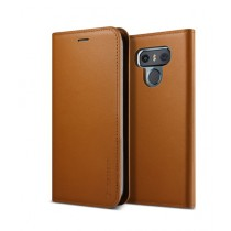 VRS Design Genuine Leather Diary Brown Case For LG G6