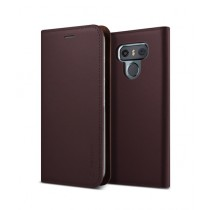 VRS Design Genuine Leather Diary Wine Red Case For LG G6