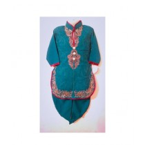 Wardrobe Desire Embroidered Kurta Shalwar For Girls - Bottle Green