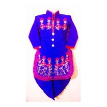 Wardrobe Desire Embroidered Kurta Shalwar For Girls - Royal Blue