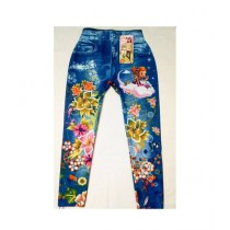 Wardrobe Desire Floral Printed Stretchable Jeans For Girls - Blue