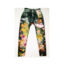Wardrobe Desire Floral Printed Stretchable Jeans For Girls - Black