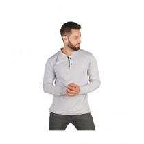 Wokstore Garments Full Sleeves Henley T-Shirt Grey