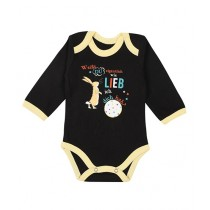 Wokstore Garments Printed Romper For Baby Black/Yellow