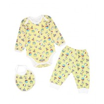 Wokstore Garments Romper With Pajama & Bib For Babies Yellow (0235)