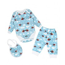 Wokstore Garments Romper With Pajama & Bib For Baby Boy Blue (0233)