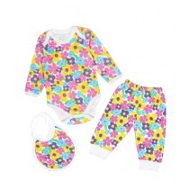 Wokstore Garments Romper With Pajama & Bib For Baby Girl Pink (0234)