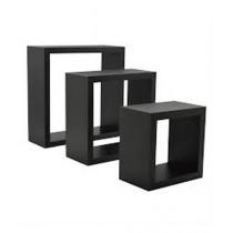 Wood World Cubical Shelf Black - Pack Of 3