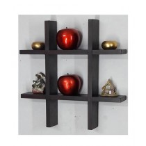 Wood World Decorative Wall Hanging Shelf Dark Brown