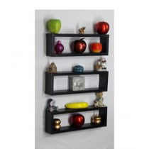 Wood World Wall Hanging Shelf Black - Pack Of 3