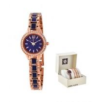 Anne Klein Women's Watch & Bracelets Gold Tone (AK/3396NRST)