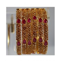ZaJewellery 6 Bangles With Multi Stones For Women Gold