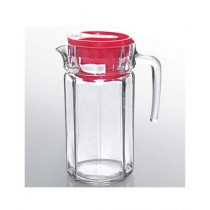 ZS Store Glass Jug With Red Lid Pack Of 2
