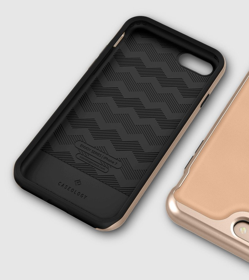 the latest 70857 435ad Caseology Envoy Case Carbon Fiber Black / Gold For iPhone 7