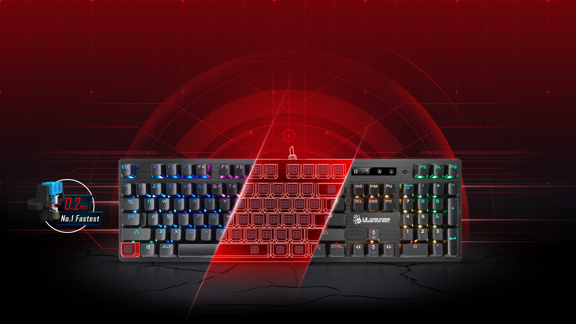 A4Tech Bloody B820R Light Strike RGB Animation Gaming Keyboard