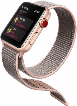 online store 16ab7 69ea9 Apple iWatch Series 3 42mm Gold Aluminum Case With Pink Sand Sport Band -  GPS (MQL22)