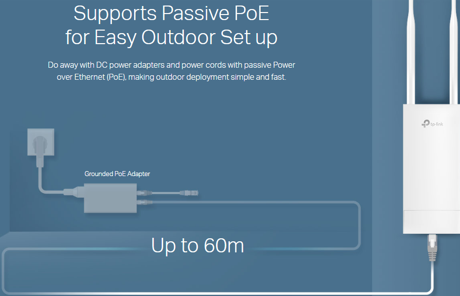 Image result for Supports Passive PoE for Easy Outdoor Set up Do away with DC power adapters and power cords with passive Power over Ethernet (PoE), making outdoor deployment simple and fast.