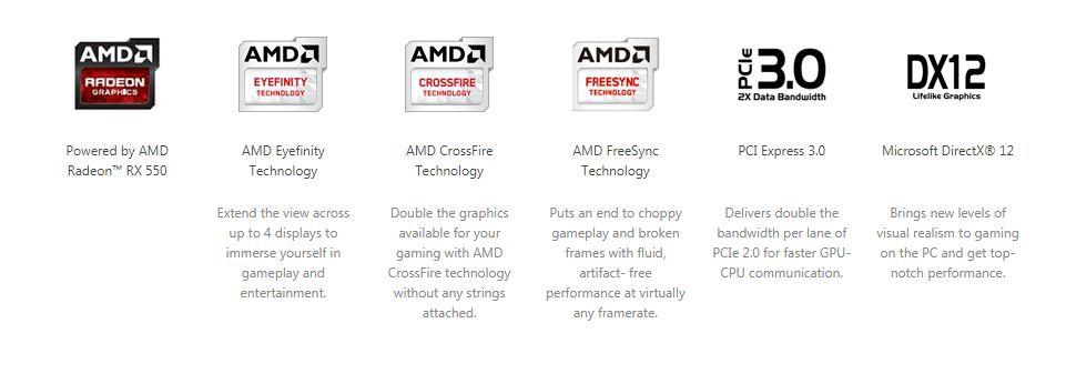 Asus Phoenix RX 550 4GB Graphics Card (PH- RX550-4G-M7)