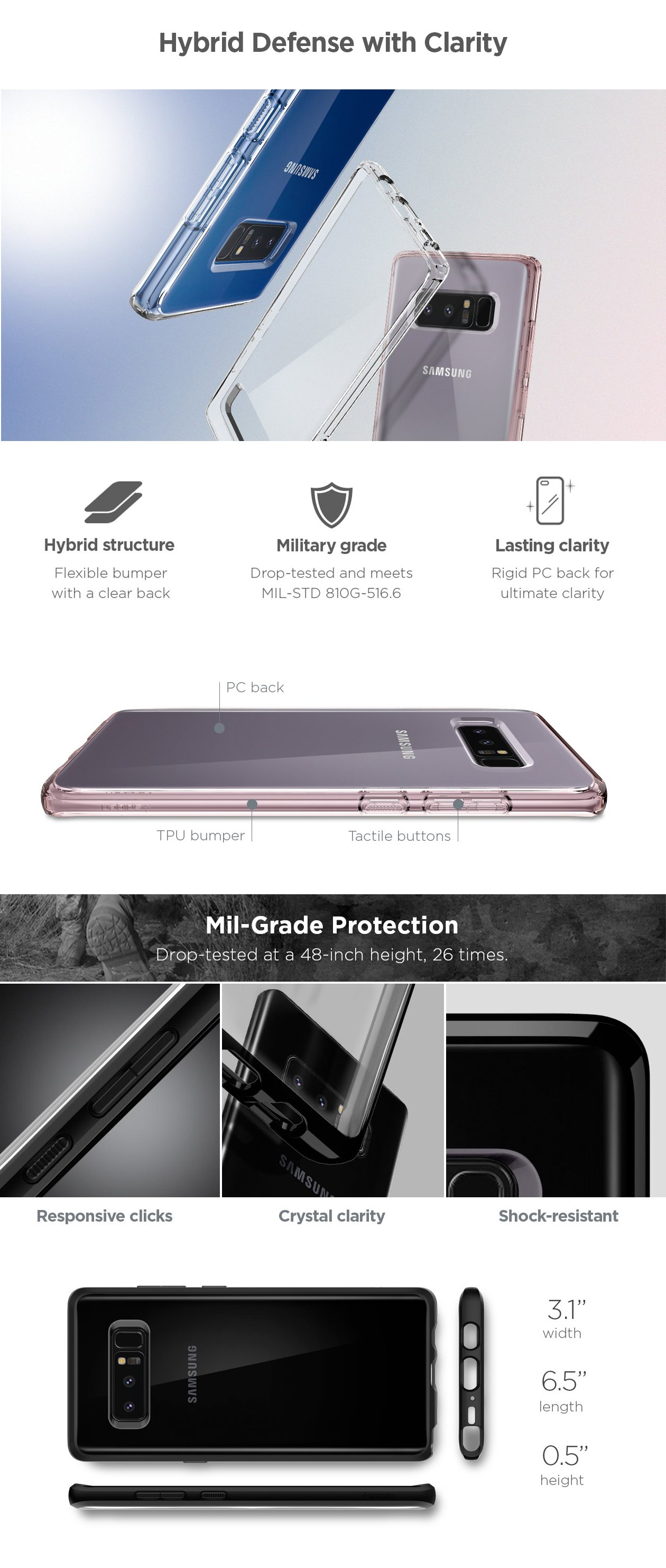 cheap for discount 08460 2a4ff Spigen Ultra Hybrid Crystal Clear Case For Galaxy Note 8
